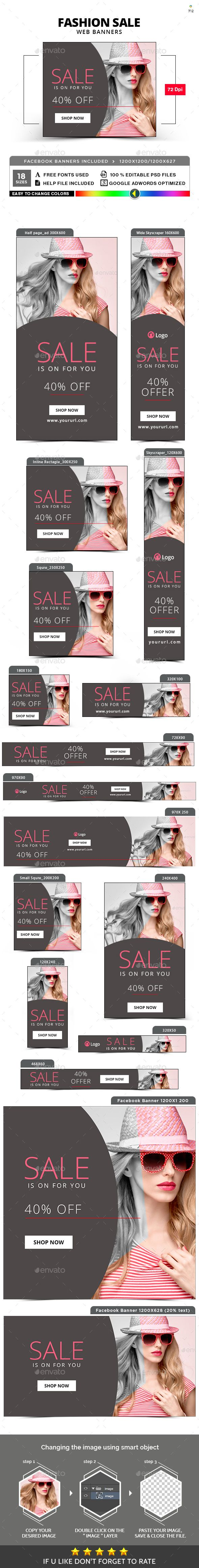 Fashion Sale Banners — Photoshop PSD #animated banner #marketing • Available here → https://graphicriver.net/item/fashion-sale-banners/20723422?ref=pxcr