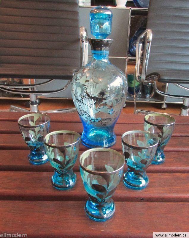 allmodern * SET GLAS Karaffe+Gläser Venedig Italy Muranoglas Souvenir Silber | eBay * Venice vintage drinking set? Silver-painting on blue glass? Kitsch...shabby...whatever style you like - GET it!