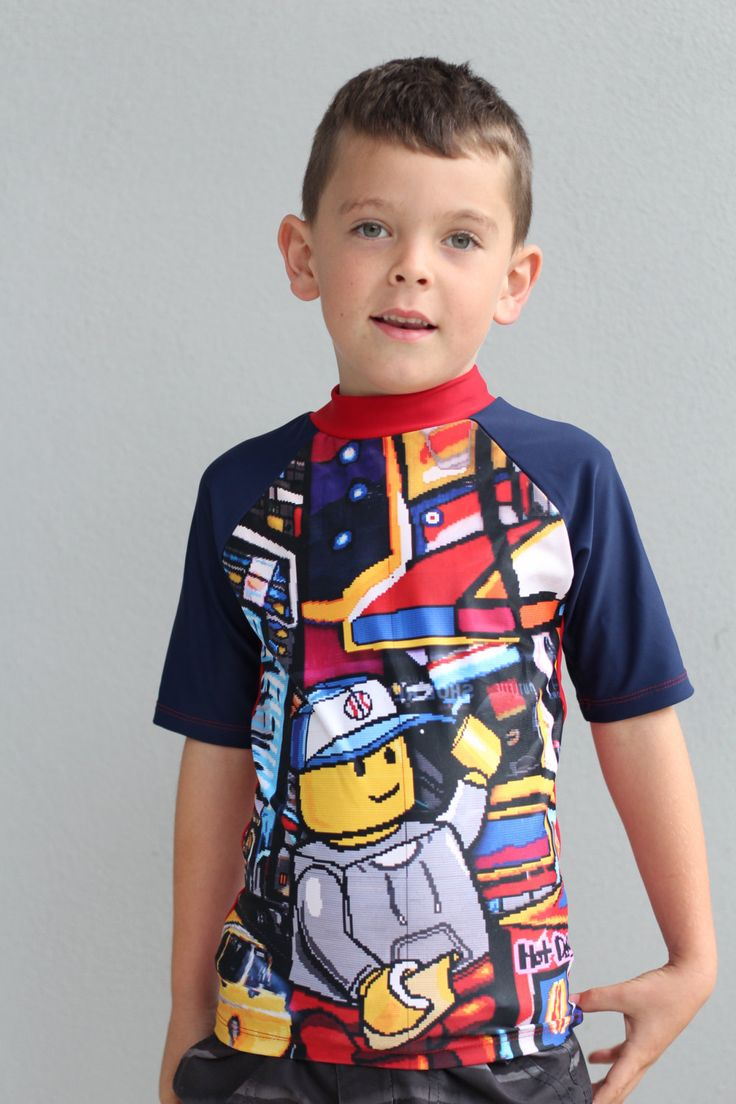 Boys swimsuit short sleeve Rash Vest with sublimated with lego design. by LaLaLaDesigns on Etsy