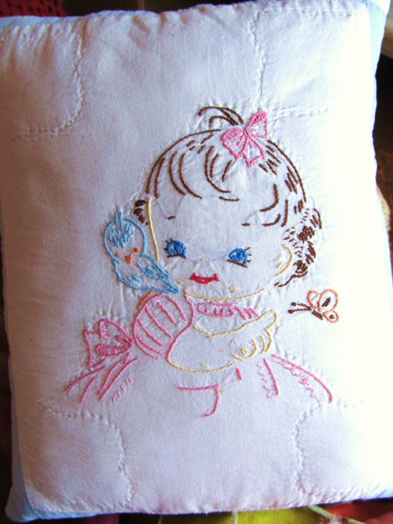 Bluebird Vintage Embroidered Pillow by robinhillquilts on Etsy