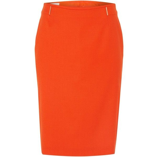 Hugo Boss Vizina Flannel Stretch Pencil Skirt (£159) ❤ liked on Polyvore featuring skirts, red, women, stretch skirt, stretch pencil skirt, red pencil skirt, red knee length pencil skirt and orange pencil skirt