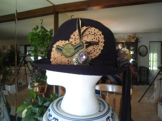 100% Wool Upcycled Black Bowler Hat with Tail Feather an Army Patch Pendant Redesigned Repurposed Boho Bohemian Steampunk Style Accessories by LandofBridget