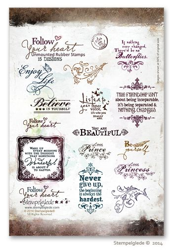 © Stempelglede® Follow your heart. Unmounted Rubber Stamp Sheet. The text on the webpage is in Norwegian, for International orders, please visit visit: http://www.stempelglede.com/international.html
