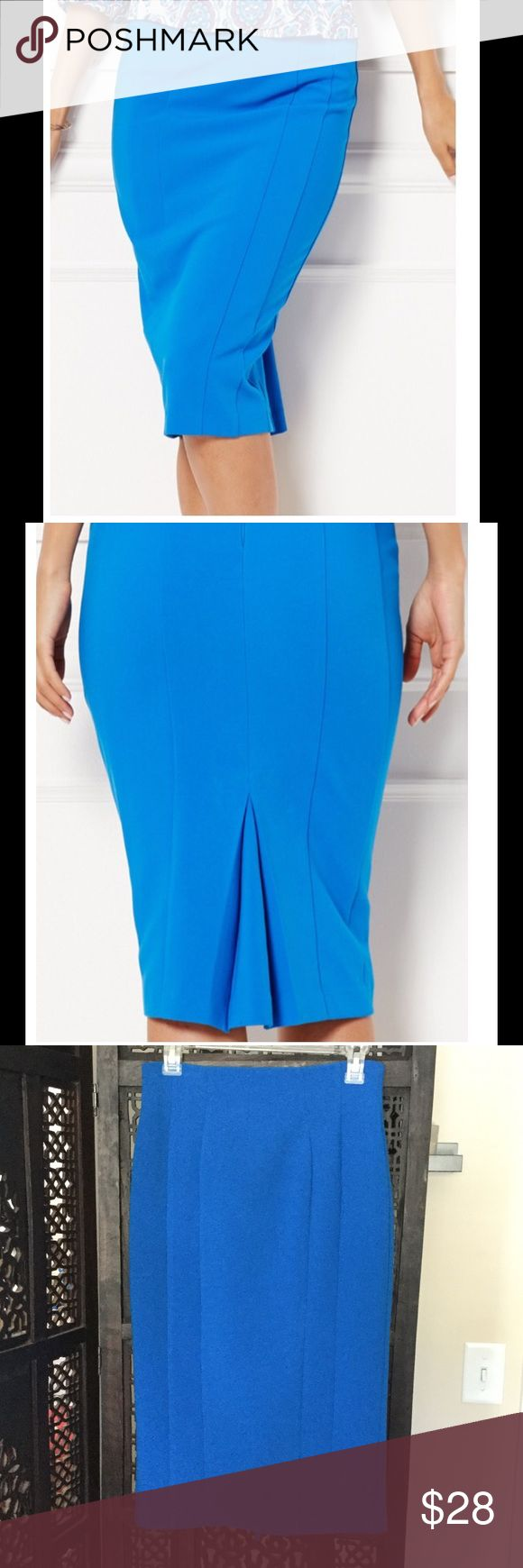 "NY&CO Eva Mendes pencil slim fit skirt bodycon This pencil skirt is tapered and gives anyone curves. BEWARE: High Voltage SEXY. The blue on this skirt is vibrant and best described as electric blue. Back slit is pleated, and will not show slip. In excellent used condition. Comes from smoke and pet free home. Measurements width 14"" length 28"" New York & Company Skirts Pencil"