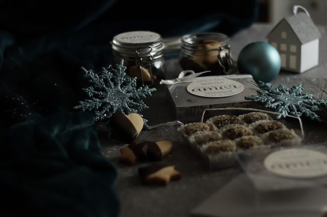 Homemade presents with chocolate and cashew truffles, and hungarian  cookies