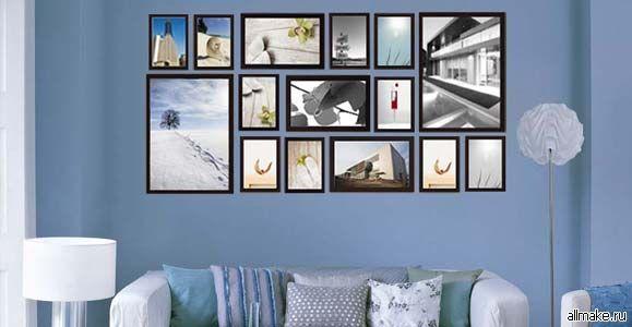 Картинки по запросу оформление стен фотографиями