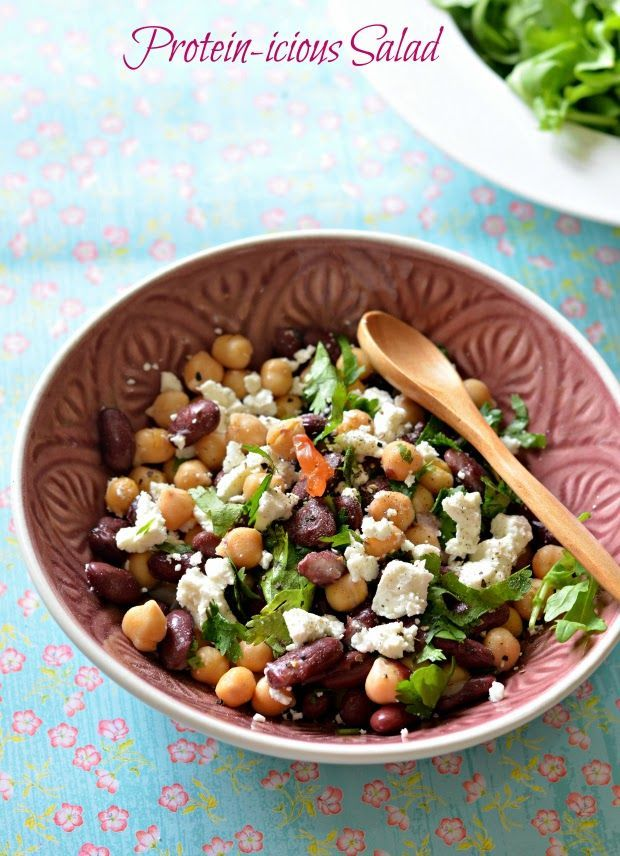 Chickpea, Red Kidney Bean and Feta Salad -(Vegetarian, 6.0g protein per 100g)quick vegetarian high protein salads 2