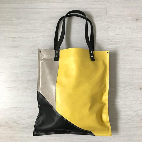 Hey, I found this really awesome Etsy listing at https://www.etsy.com/listing/535174563/yellow-black-silver-leather-tote-bag
