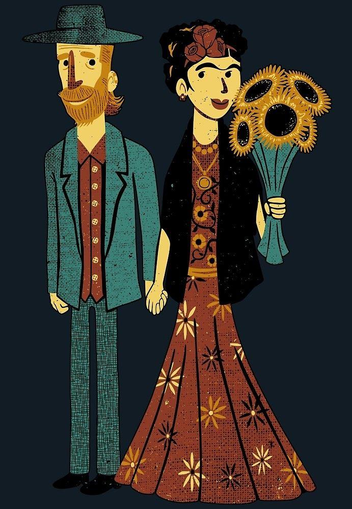 Love Is Art Frida Kahlo And Van Gogh By Tobiasfonseca Cartazes
