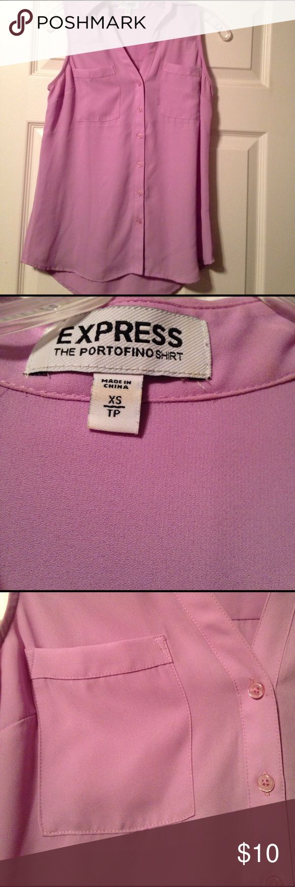 Express Portfino Shirt Express sleeveless Portfino shirt. This is my favorite shirt style from Express. It's fits more like a slim cut, and the extra small size fits more like a small. Throw a blazer over top and it's perfect for work! Color is a pastel purple. Perfect for spring! Express Tops Blouses