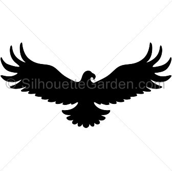 Eagle silhouette clip art. Download free versions of the image in EPS, JPG, PDF, PNG, and SVG formats at http://silhouettegarden.com/download/eagle-silhouette/