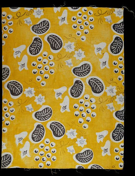 Grapes, furnishing fabric | Designed by Duncan Grant (1885-1978) for Allan Wallton Textiles | Printed linen | London, England, 1932 | Furnishing fabric of printed linen with grey and white vines, leaves and flowers on a bright yellow ground | VA Museum, London