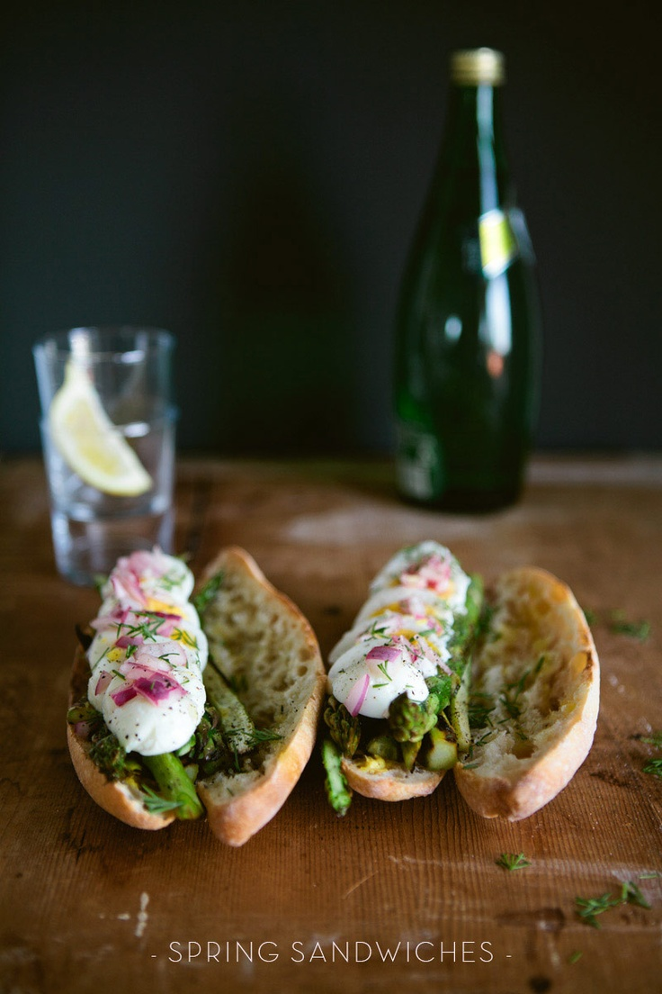 Lovely sandwiches with asparagus, perhaps mozzarella instead of egg.