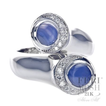 FERI MOSH Coral Ring - 21K White Gold, 2 very rare Sapphires with Diamonds - $6,925.00  #ring #jewelry