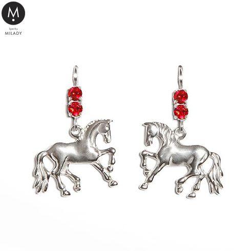 VŠECHNY ŠPERKY | Náušnice kůň Choper a kameny Swarovski - červené | MILADY šperky, jezdecké a koně