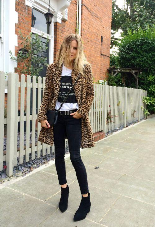 Basics: A3 (leo coat) B3 (plain shirt, logo) + C3 (black pants) + D5 (bootie, black); Additions: cross-body bag