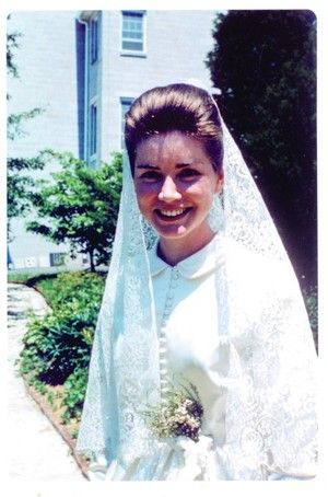 At the Abbey of Regina Laudis in Connecticut, the former actress Dolores Hart became Mother Dolores Hart. She is shown in a wedding dress on her Clothing Day in 1964.