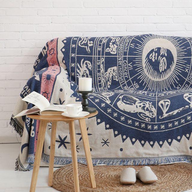 Europe Minimalist vintage Sofa cover blanket constellations sofa towel Nonslip sofa cover full blanket Sofa Towel Blanket