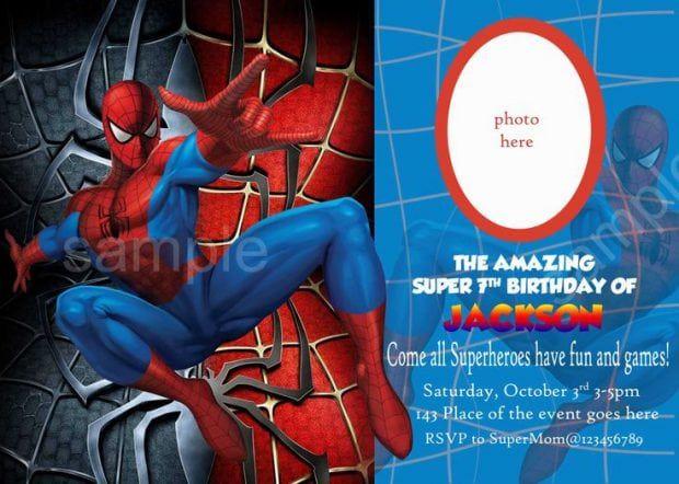 Editable Spiderman Birthday Invitation Pandora Inviti