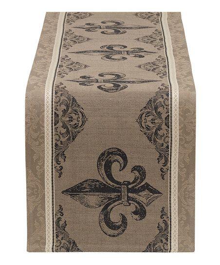 Design Imports Fleur-de-Lis Stripe Jacquard Table Runner | zulily
