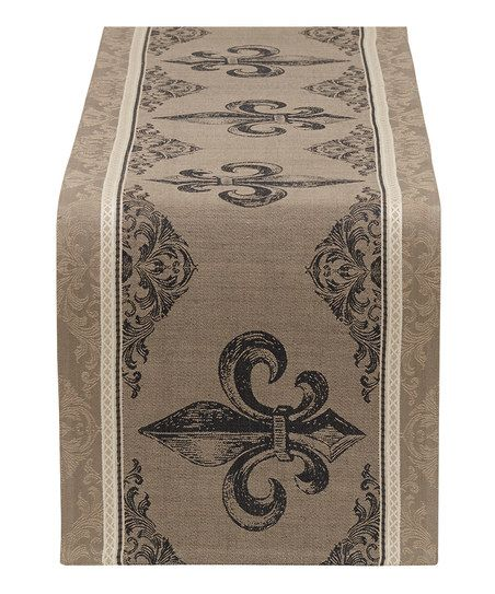 Design Imports Fleur-de-Lis Stripe Jacquard Table Runner | zulily