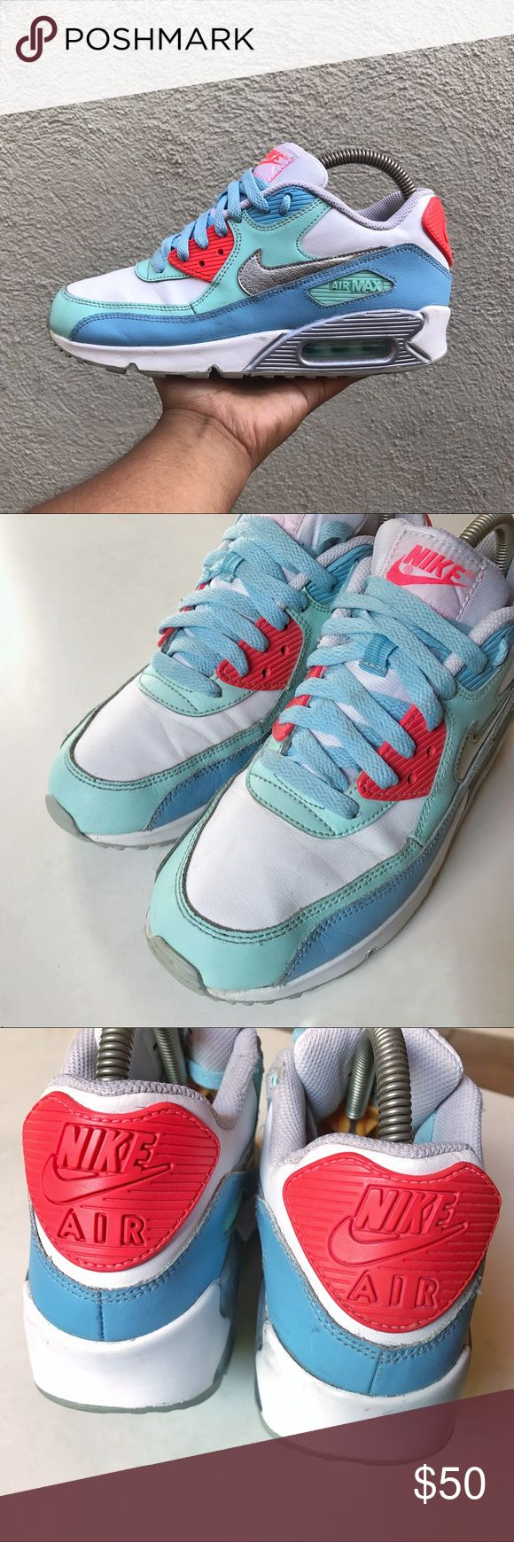 Nike Air Max 90 women shoes size 6Y - 7.5 Pre-owned Nike Air Max 90 Leather (GS) Big Kids Size 6Y/ Women 7.5 Shoes White/Metallic Silver-Lakeside-Artisan Teal 724852-100 Nike Shoes Sneakers