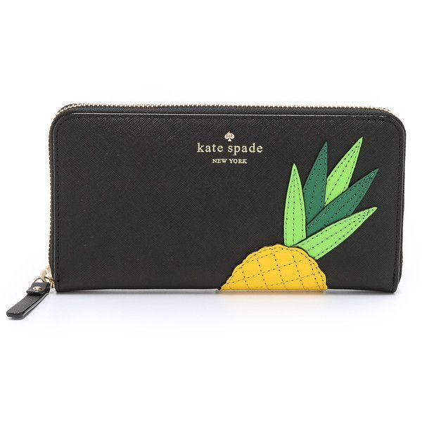 Kate Spade New York Lacey Pineapple Zip Around Wallet featuring polyvore, fashion, bags, wallets, pineapple, genuine leather wallet, leather bags, zipper wallet, genuine leather bag and polka dot wallet