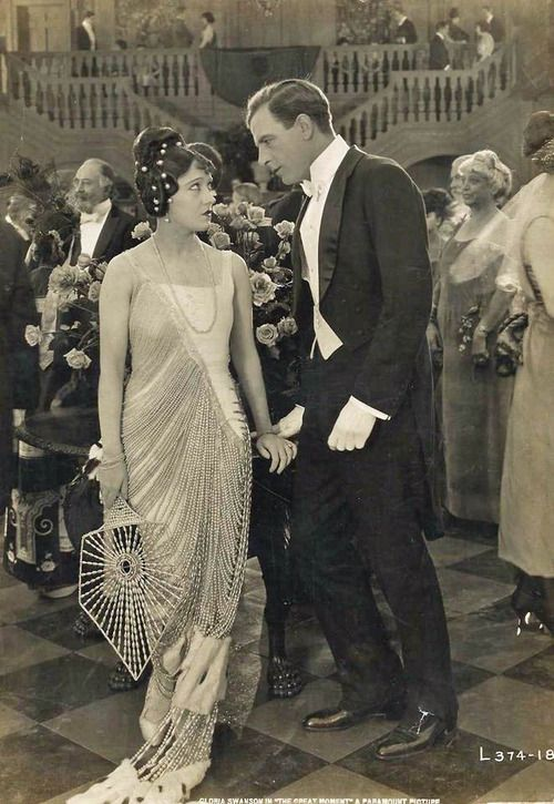 omg that dress! - gloria swanson & milton sills in the great moment, 1921