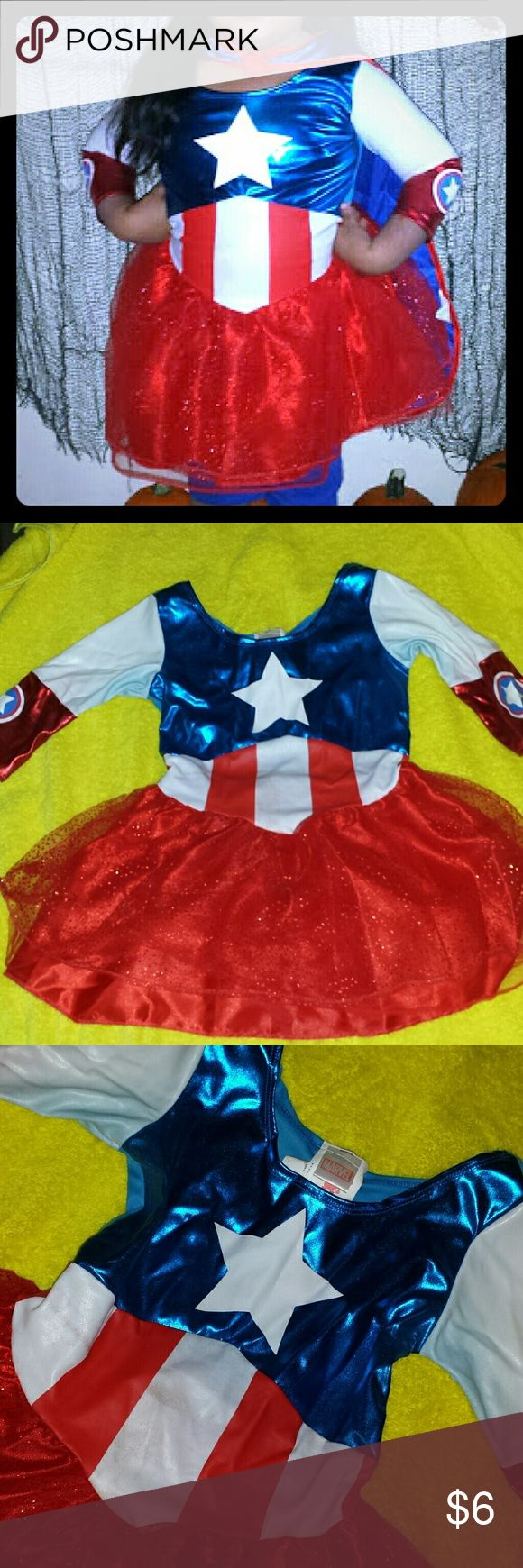 Ms America halloween costumes Cute superhero costume. .I'm not sure if it's stained or if could be washed and cleaned. . See 3rd picture  (I had it folded since last halloween and it left marks) not sure if it will come off but not too noticeable especially since trick or treating is in the evening. Comes with mask. Costumes Halloween