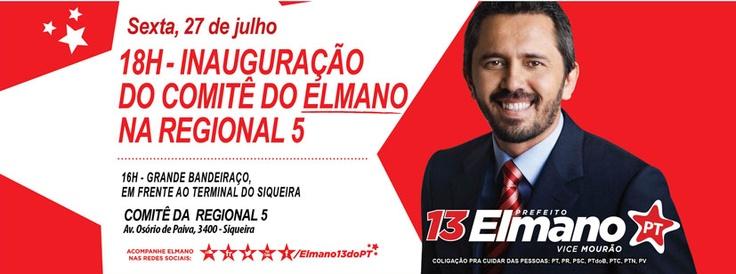 Elmano inaugura nesta sexta (27), às 18h, o Comitê da Regional V. Esperamos vocês!