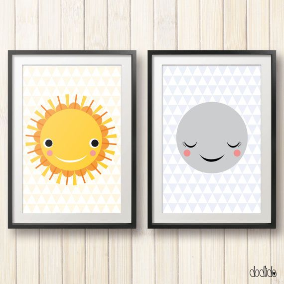 Sun and Moon kids poster, digital file, instant download, nursery decor, childrens wall art, kids room decor, nursery poster, kids poster. This is