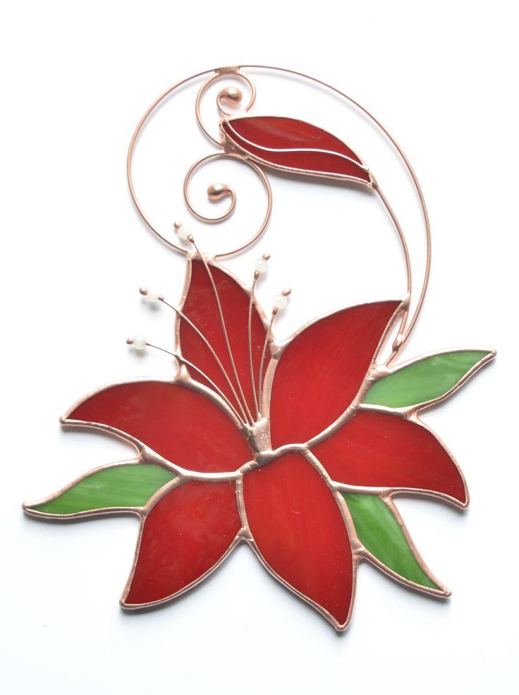 Stain glass window hanging, red lily flower suncatcher, hanging window decoration, garden ornament