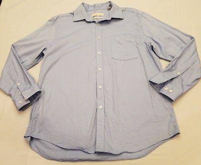 Michael Kors Men sz large slim fit light blue button dress shirt collar stay