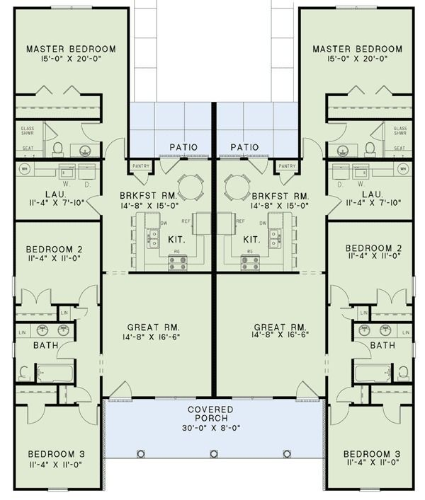Best 25 duplex floor plans ideas on pinterest duplex for Ranch duplex floor plans
