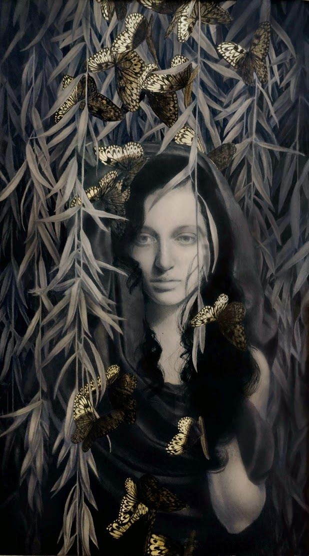 graphite and gold leaf illustrations by Alessandra Maria #illustration #drawing