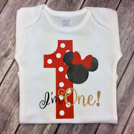 Baby Girls Clothing Girls Clothing Red Standing Minnie Mouse 1st Birthday Onesie Personalized