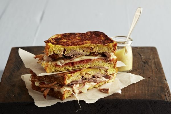 This chili pork Monte Cristo grilled sandwich features delicious tender pork and tangy chili sauce. If Jarlsberg is unavailable, substitute with Swiss cheese. Photo by Ryan Brook.