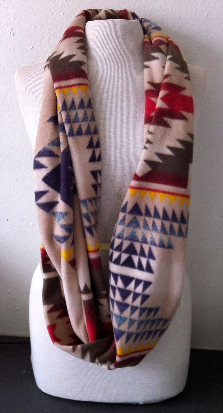 SALE PRICE Soft Tan Navy Blue Red Native American Southwest Pendleton Inspired Fleece Infinity Cowl Scarf. $15.00, via Etsy.