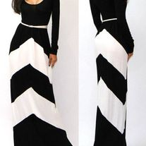 Chevron Color Black Floor Length Maxi Dress