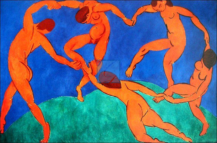 Henri Matisse - 춤 * 축제가 시작되고 춤이 시작된다. 앙리 마티스는 야수파 화가로서 강렬하고 순수한 색체로 평안하게 정확성을 표현하는데에 중점을 두었다. 내가 생각하기에 회화에 있어서 색채가 가장 중요하다고 생각하는데 작가는 춤과 노래는 인간 삶의 환희를 표현할 수 있는 최고 형태임을 믿고 이 작품을 제작한듯 싶다. 극도로 절제되고 단순한 구도에 하늘을 상징하는 푸른 빛과 땅을 상징하는 녹색 바탕에 다섯명의 인물이 손을 잡고 단순하고 원시적인 형태의 원형을 그리며 춤을 추고 있다. 이 작품을 보았을 때 가장 먼저 느낀 점은 자신의 한계를 뛰어넘어 하늘 끝까지 오르고픈 비상의 열망을 표현한것 같다는 것이다. 한명의 표정만 보이지만 그들의 표정은 무아의 상태에 도달한 사람처럼 보이는 무표정이다. 대단히 빠른 듯이 보이는 춤사위, 그리고 그들의 이어짐이 축제 안에서 가질 수 있는 사람과 사람사이의 온기와 관계의 회복을 나타내는 것이라 생각한다.