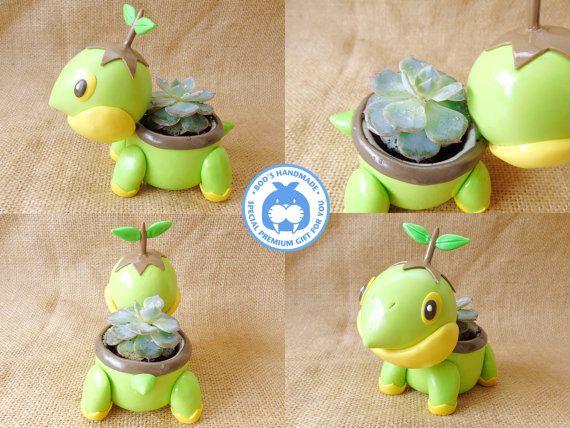Turtwig  Pokemon succulent plants clay pot by Booshandmade on Etsy