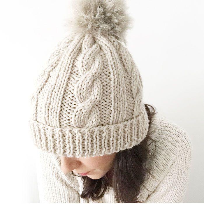 Gorro de lã com pom pom de pele - Knitting Pattern & Tutorial