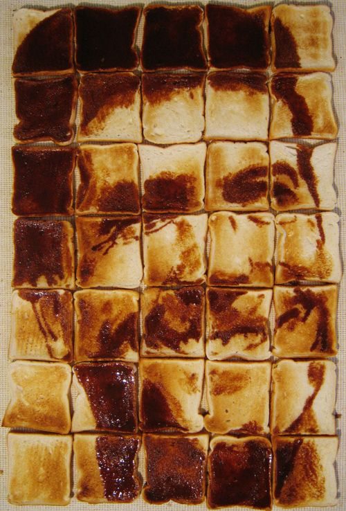 This is Simon Cowell, made out of Marmite on toast. | This Artist Makes Brilliant Celebrity Portraits With Food