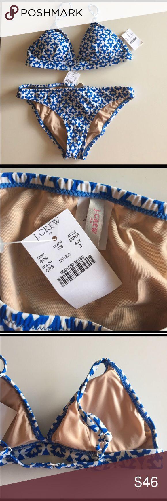 J. Crew blue white bikini NWT small J. Crew bikini swim suit. Blue and white. Removable pads. New with tags! J. Crew Swim Bikinis