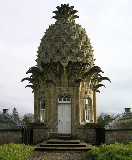 The Dunmore Pineapple - Scotland. Dunmore Park. Historic home turned hotel in central Scotland. The building containing a hothouse was used, among other things, for growing pineapples. Built in 1761