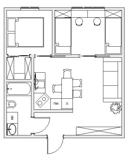Добрый день. Купили с мужем квартиру и пока достраивают дом решили подготовиться к ремонту и начали с перепланировки. Так как дом монолитный, нельзя сносить только пилон и стенку с вент каналами. По началу планируем выделить зону спальни на 8-9,5 метров в комнате у окна с перестенкой...