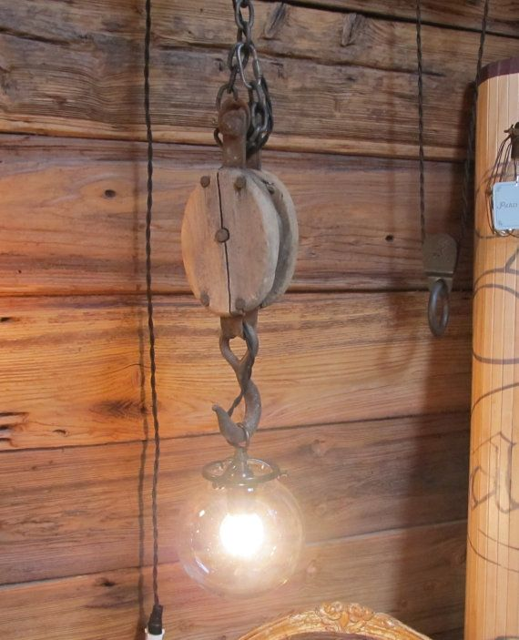 Funky Rustic Galvanized Pendant Light Via Etsy: Vintage Wooden Block Pulley Pendant Light With Glass By