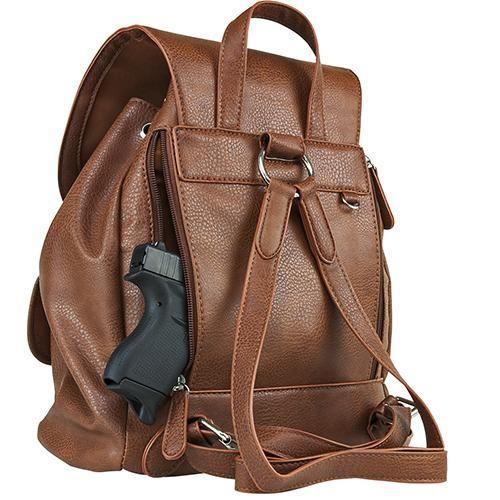 VISM Concealed Carry Womens Backpack- Brn
