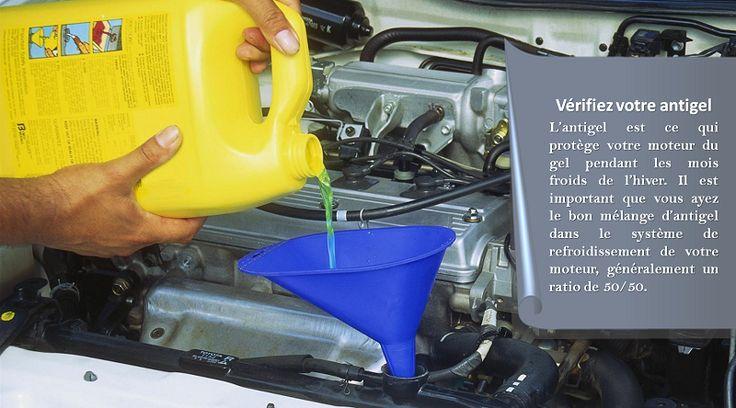 Vérifiez l'antigel Utilisez un testeur d'antigel pour retirer quelques gouttes d'antigel du radiateur ou prenez quelques gouttes qui ont débordé. Cela vous informera sur le point de congélation de l'antigel de votre voiture. Vérifiez la température la plus basse de la zone où vous vous trouvez et ajoutez plus d'antigel pour vous assurer que votre moteur ne gèle pas. #pneushiver