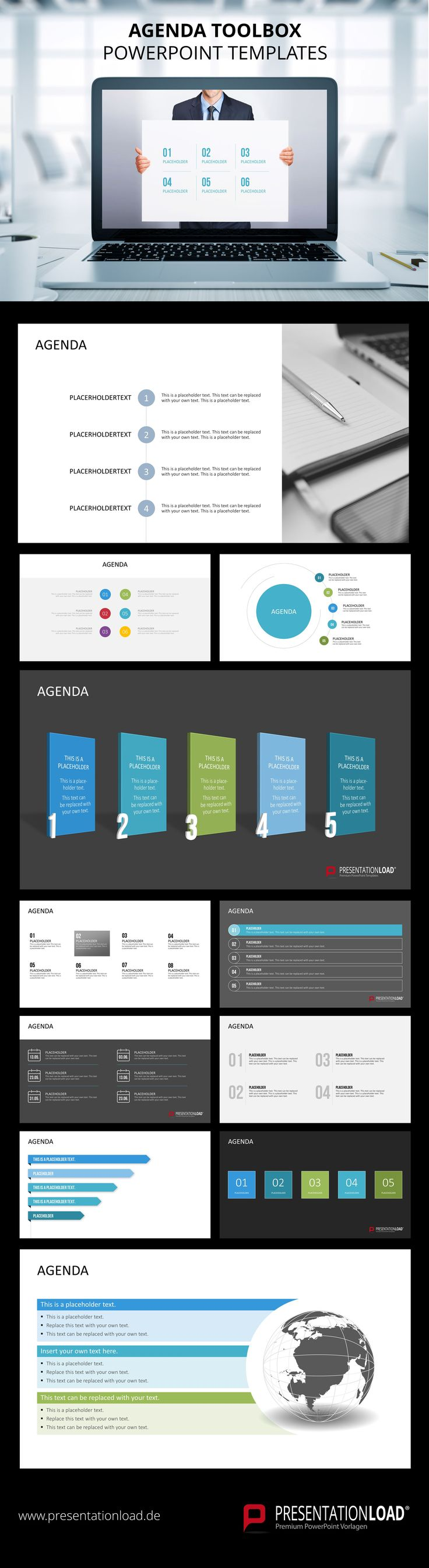 Take advantage of our large selection of professional agenda layouts for your PowerPoint presentation.